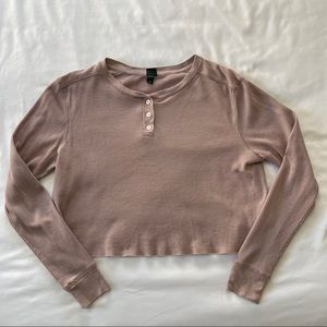 Wild Fable Cropped Thermal Henley Long Sleeve Top